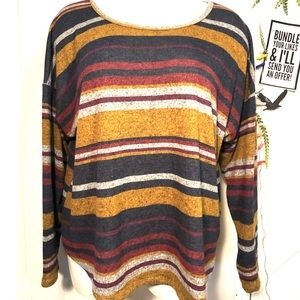 Absolutely Famous- 3X soft stripes scoop neck